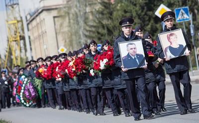 Mourning ceremony for senior Samara Region police officer Gosht in Omsk