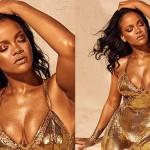 Рианна снялась в новой рекламе в золотом платье